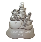 Pewter Snowman Family Ornament