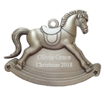 Personalized Pewter Rocking Horse Ornament