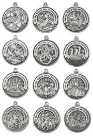 Engravable 12 Days of Christmas Pewter Ornament Set
