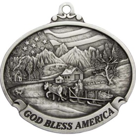 Personalized Pewter God Bless America Scene Ornament