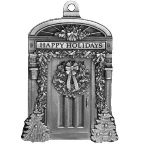 engravable front door pewter christmas ornament