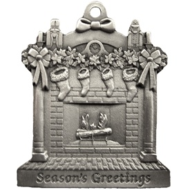 Personalized Fireplace Scene Pewter Christmas Ornament