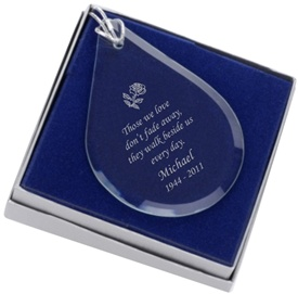 Glass Teardrop Engraved Ornament