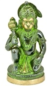Hanuman Sitting on Round Base, Antique Green Finished