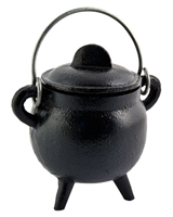 "CAL11<br><br> Cast Iron Cauldron with Lid - 4.5""H, 2.75""D"