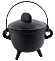 "CAL21<br><br> Cast Iron Cauldron with Lid - 5""H, 4.5""D"