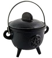 "CAL22<br><br> Pentacle Cast Iron Cauldron with Lid - 5""H, 4.5""D"