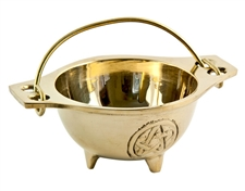 "CAL52<br><br> Pentacle Brass Cauldron - 1.75""H, 3""D"