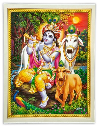 POS123 Lord Krishna Playing Flute Poster Poster on Cardboard - 15