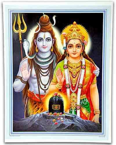 POS238 Shiva Parvati Blessing Poster On Cardboard