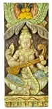 Wooden Goddess Saraswati Wall Hanging
