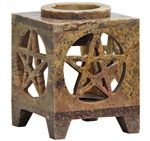 "SBR261<br><br> *Pentacle Soapstone Aroma Lamp 3""H"
