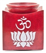 Wholesale Stone Carved Om Symbol on Lotus Aroma Lamp