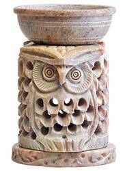 "SBR312<br><br> Owl Soapstone Aroma Lamp - 4""H"
