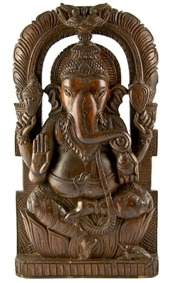 Wooden Lord Ganesh Statue
