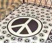 Wholesale Tapestry - White Peace Sign Tapestry/Bedspread