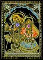 Radha Krishna Print on Velvet Cloth