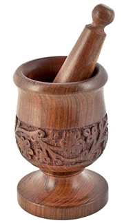 "WBR22<br><br> Wood Hand Carved Mortar & Pestle - 5""H, 3""D"