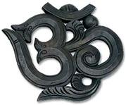 "WHN01<br><br> Om Wood Wall Hanging Black 8""H, 9""W"