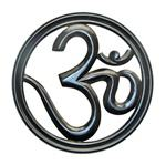"WHN09<br><br> Om Symbol Wood Wall Hanging Black 12""D (Small)"