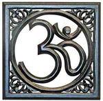 "WHN16<br><br> OM HAND CARVED WD WALL HANGING BLACK 12""X12"""