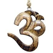 Wholesale Om Symbol Wooden Wall Hanging with Hemp Cord