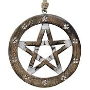 Wholesale Pentacle Wooden Wall Hanging with Hemp Cord