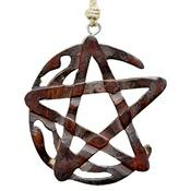 Wholesale Crescent Moon Pentacle Wooden Wall Hanging with Hemp Cord