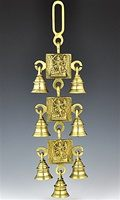 Three Goddess Kali Solid Brass Wall Hanging Chime with Seven Bells