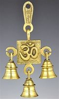 Om Symbol Solid Brass Wall Hanging Chime with Seven Bells