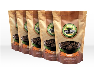 Five 12oz Bags of Vegan, Gluten-Free and Non-GMO Coffee Granola.