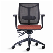 9to5 Brio 2060 Mid-Back Chair with Mesh Back & Fabric Upholstered Seat