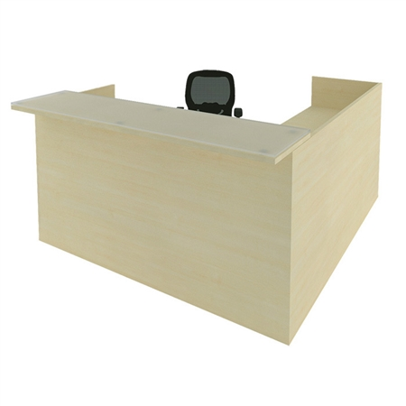 CHERRYMAN AMBER RECEPTION L-DESK SHELL, NO PEDESTALS A126124 NO STORAGE NO DRAWERS