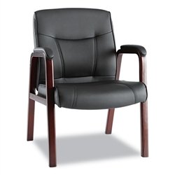 Alera Madaris Leather Guest Chair with Wood Trim, Four Legs