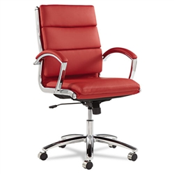 Alera Neratoli Mid-Back Swivel/Tilt Chair, Red Soft-Touch Leather