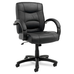 Alera Strada Series Mid-Back Swivel/Tilt Chair with Black Leather Upholstery