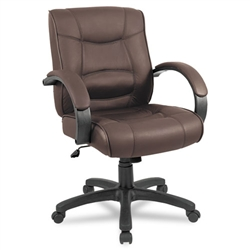 Alera Strada Series Mid-Back Swivel/Tilt Chair with Brown Leather Upholstery