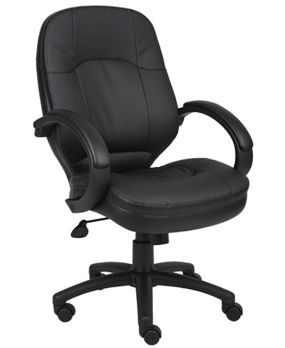 boss b726 mid back managers conference room chair in black leather