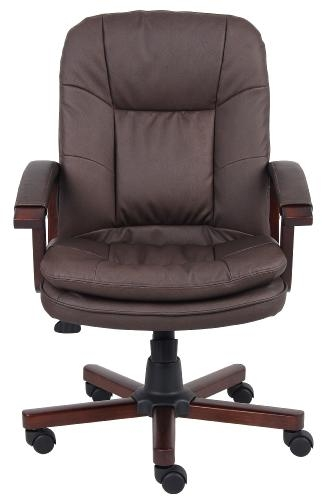 boss b796 vsbn brown leather plus mid back conference room chair