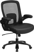 Flash HERCULES Series Big & Tall 500 lb. Rated Black Mesh Executive Swivel Chair with Leather Seat and Adjustable Lumbar - BT-20180-LEA-GG