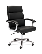 Basyx VL103 Executive Mid-Back Chair, Black Leather