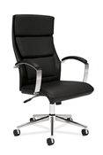 Basyx VL105 Executive High-Back Chair, Black Leather
