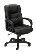 Basyx VL131 Executive High-Back Chair, Black Vinyl