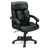 Basyx VL151 Executive High-Back Chair, Black Leather