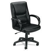 Basyx VL161 Executive Mid-Back Chair, Black Leather