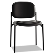 Basyx VL606 Stacking Armless Guest Chair, Black Leather