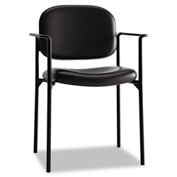 Basyx VL616 Stacking Guest Chair with Arms, Black Leather