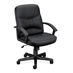 Basyx VL640 Series Leather Managerial Mid-Back Swivel/Tilt Steel Chair, Black