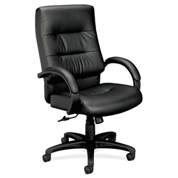 Basyx HVL691 Executive High-Back Leather Chair, Black Leather