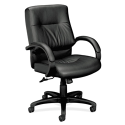 Basyx VL690 Series Managerial Mid-Back Leather Chair, Black Leather